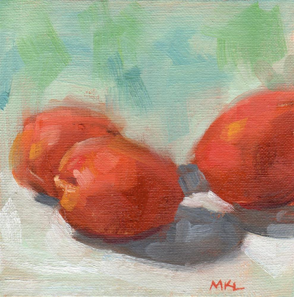 """Three Apricots"" original fine art by Marlene Lee"
