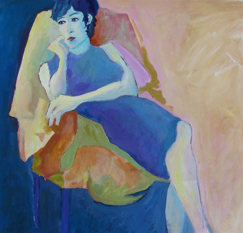 """Woman in the Blue Dress"" original fine art by Patricia MacDonald"