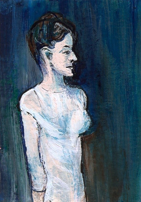 """""""ACEO Girl in a Chemise ala Picasso acrylic Blue Period Painting Penny StewArt"""" original fine art by Penny Lee StewArt"""