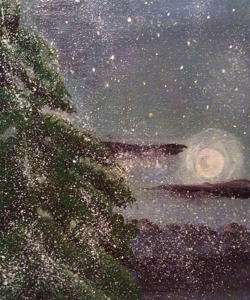 """Snowy Moonlit Night"" original fine art by Charlotte Lough"