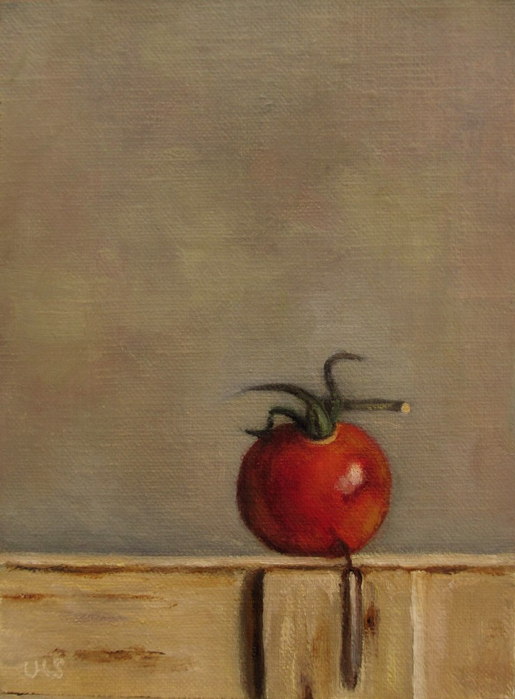 """Tomato on wodden Box"" original fine art by Ulrike Miesen-Schuermann"