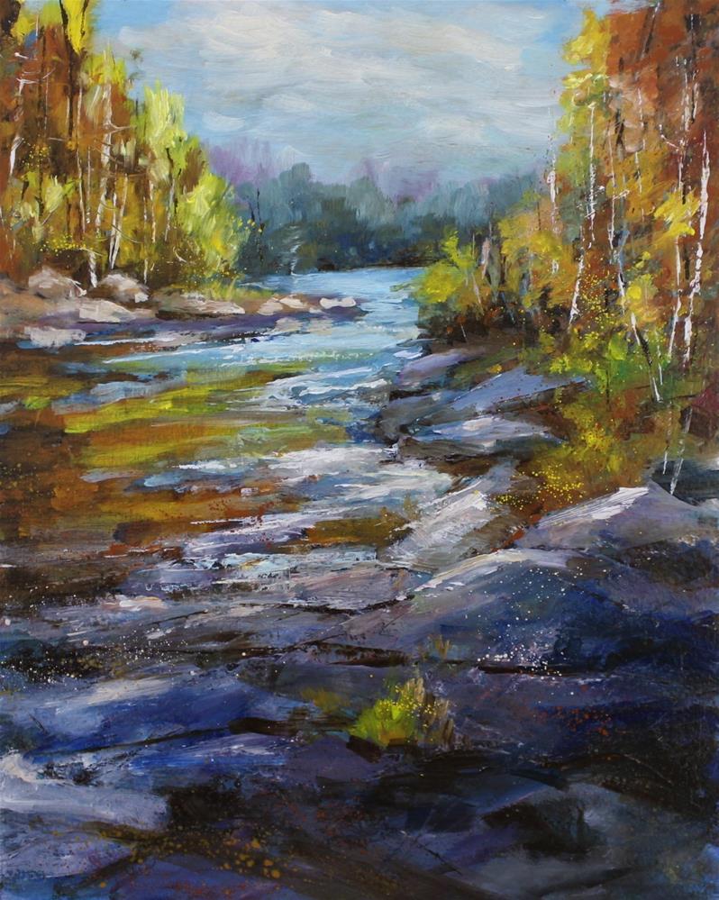 """Original creek river stream landscape oil painting"" original fine art by Alice Harpel"