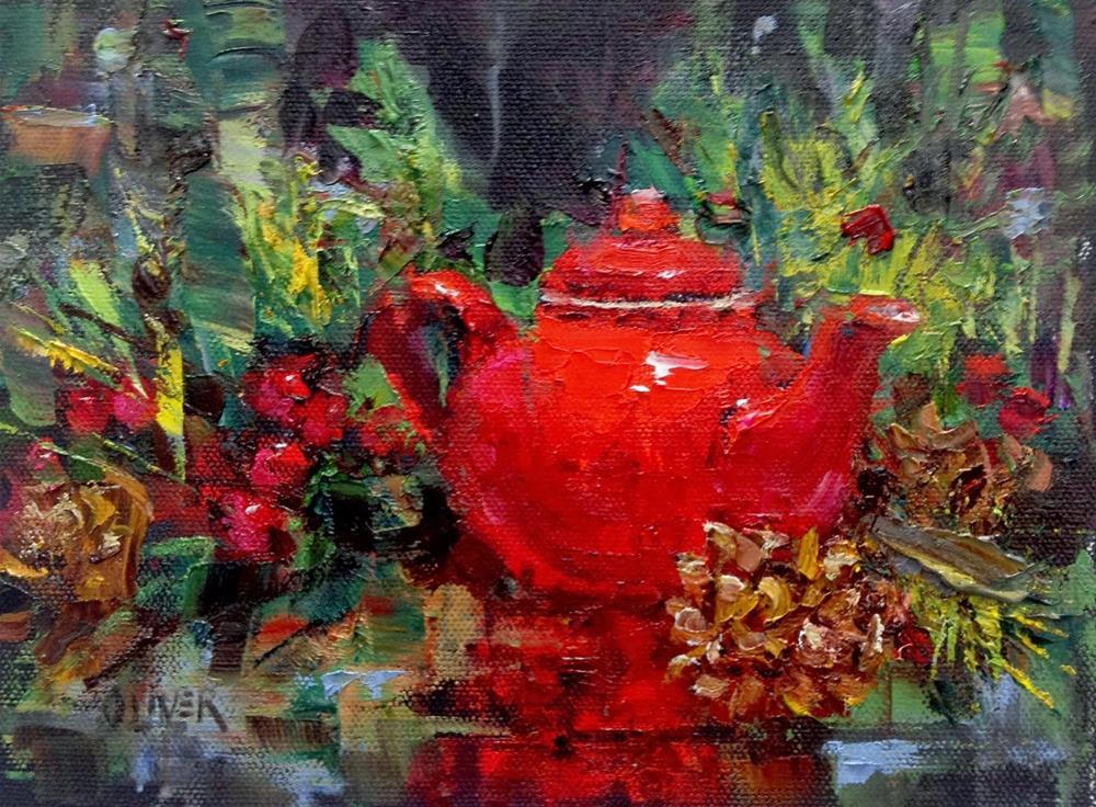 """""""Tea for the Holidays /Workshop Wrap-up"""" original fine art by Julie Ford Oliver"""