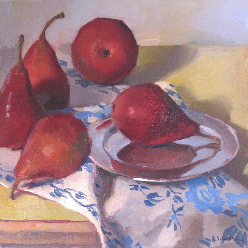 """Five Red Pears"" original fine art by Sarah Sedwick"