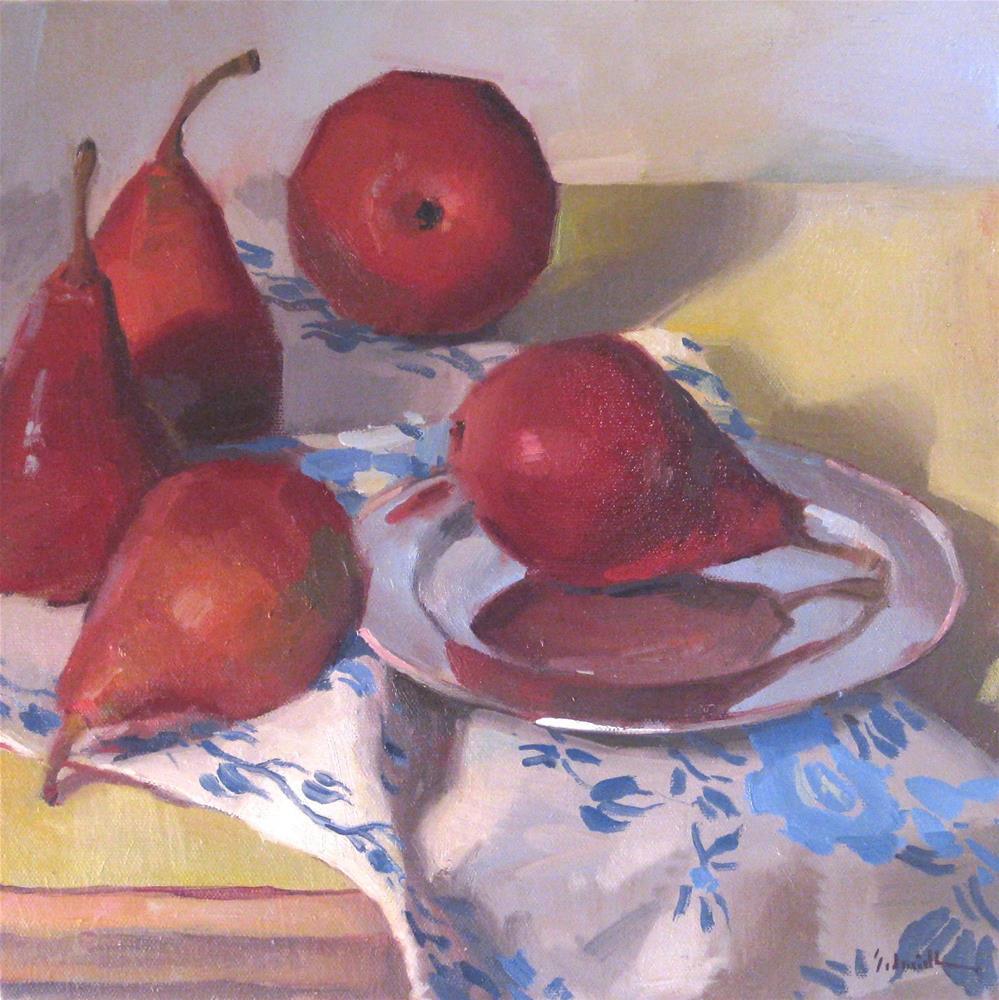 """Five Red Pears"" original fine art by Sarah Sedwick"