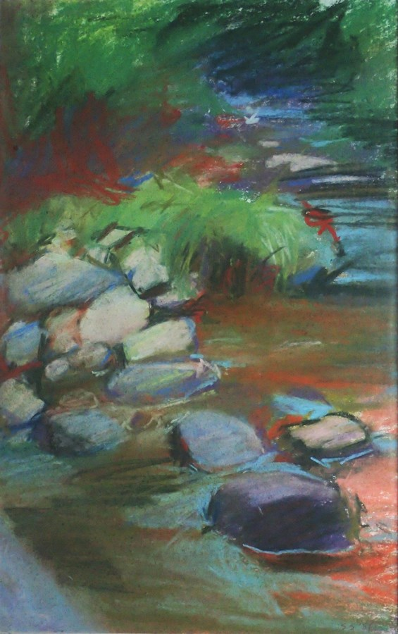 """Rocks in The Big Flat Brook"" original fine art by Sharon Savitz"