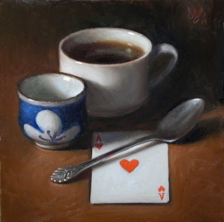 """Cups with Ace of Hearts"" original fine art by Debra Becks Cooper"