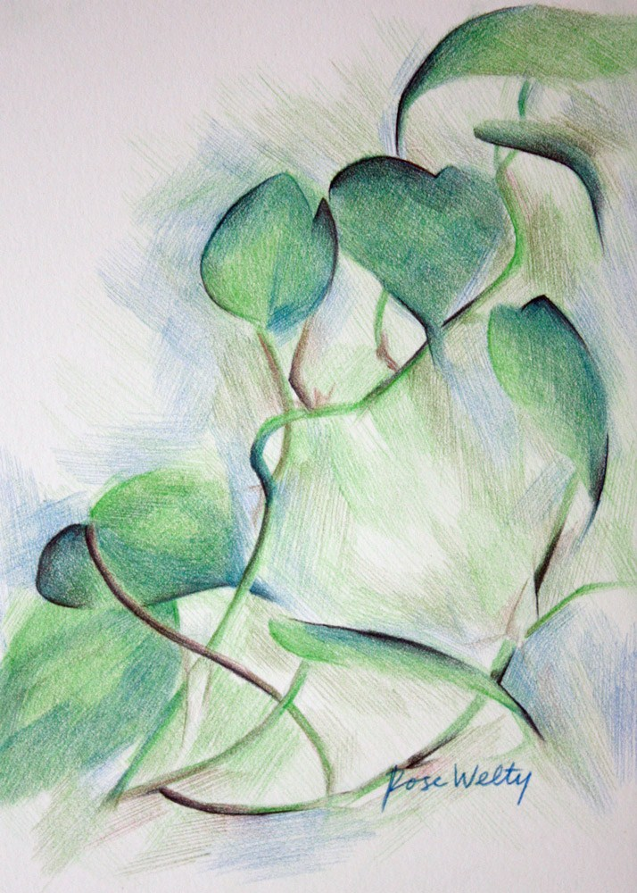 """Dance of the Houseplant"" original fine art by Rose Welty"