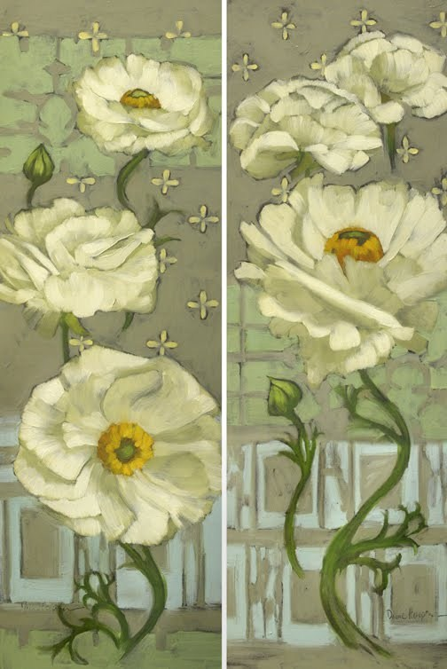 """Pinwheel Whites pair of large floral paintings"" original fine art by Diane Hoeptner"