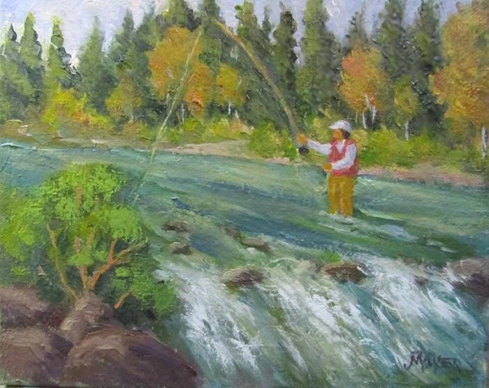 """Fish on"" original fine art by Jim Moyer"