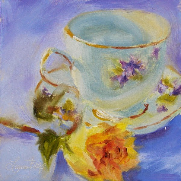 """Yellow Rose and Teacup - 301"" original fine art by Laura  Buxo"