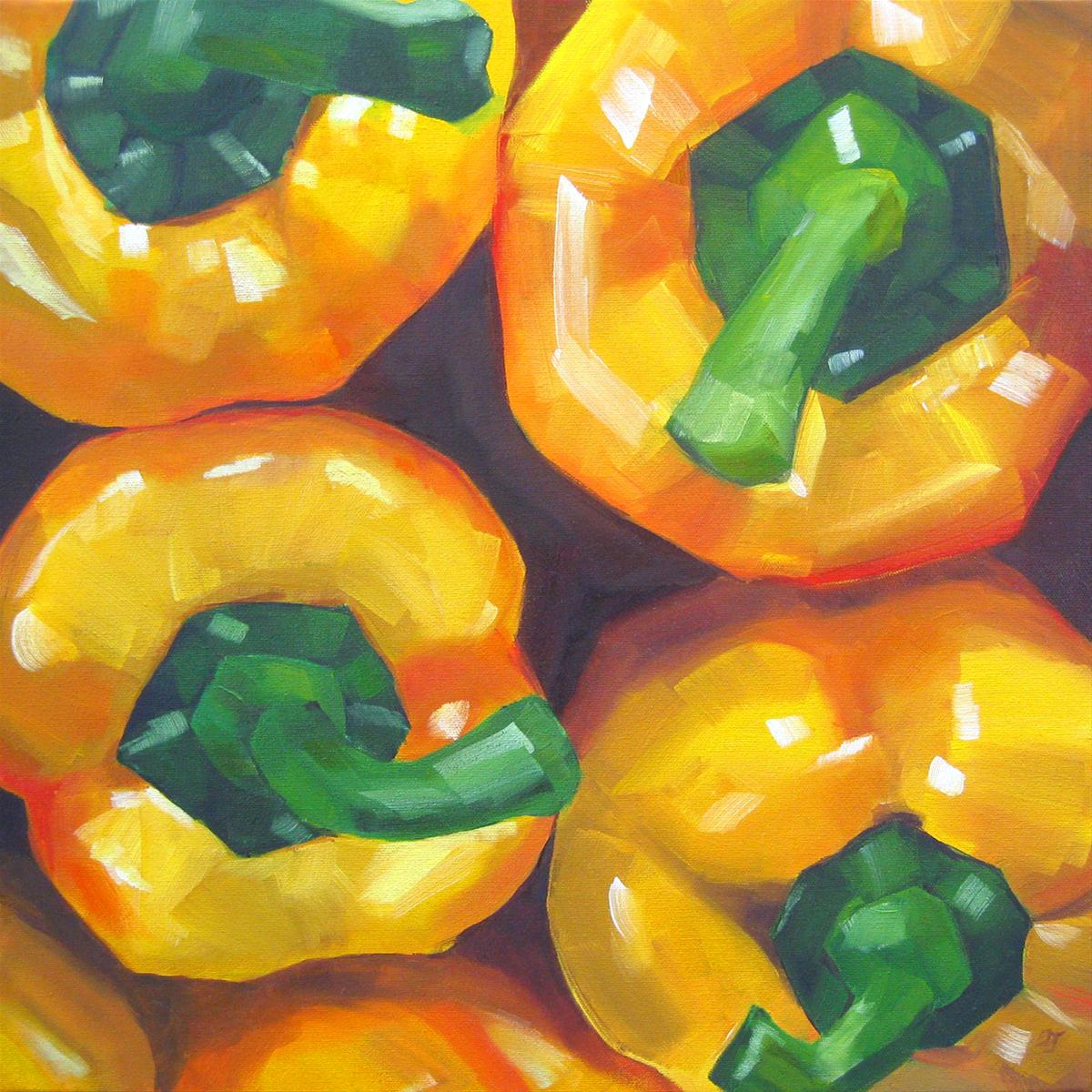 """Yellow Peppers"" original fine art by Elizabeth Dawn Johnston"