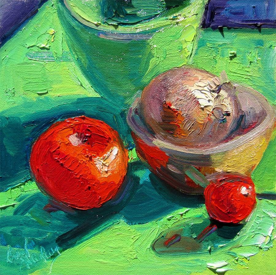 """Tomatoes, Onion/Green"" original fine art by Carol Steinberg"