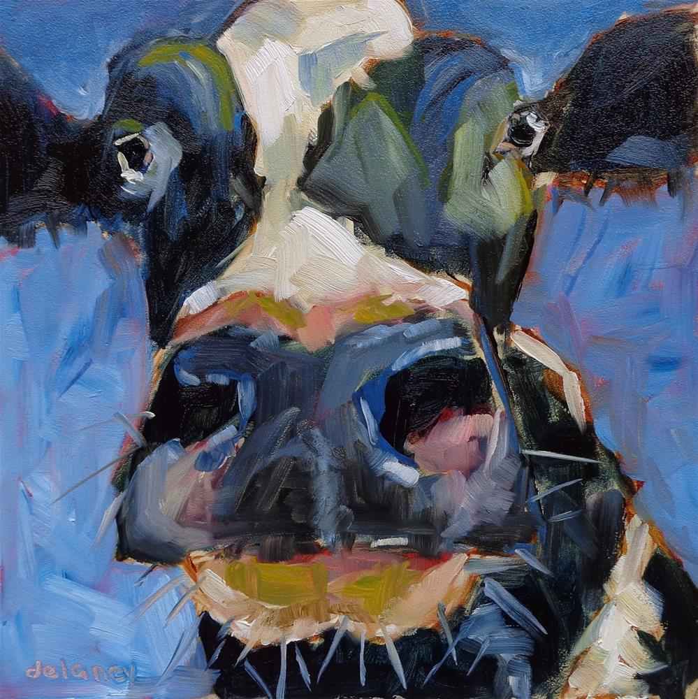 """Cow 113 MR. AGREEABLE"" original fine art by Jean Delaney"