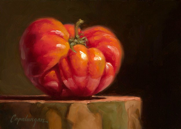 """Heirloom Tomato on Sycamore"" original fine art by David Capalungan"