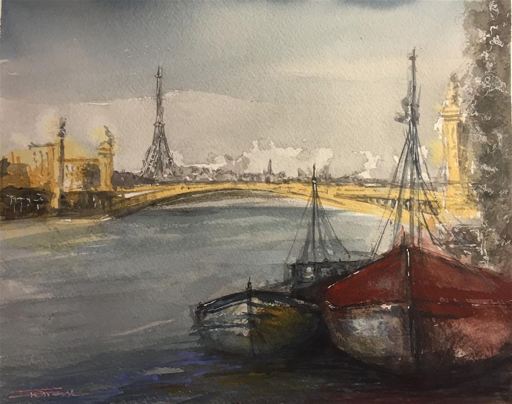 """""""PARIS SUR SEINE"""" original fine art by Ferran Llagostera"""