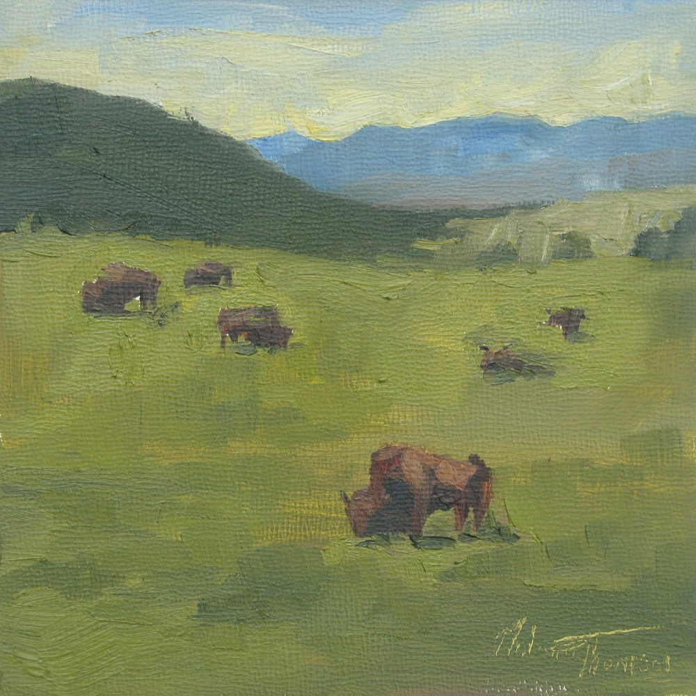 """Sauk Prairie Bison"" original fine art by Melanie Thompson"