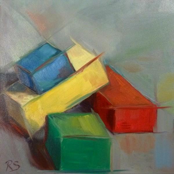 """""""Green and the Gang"""" original fine art by Regula Scheifele"""