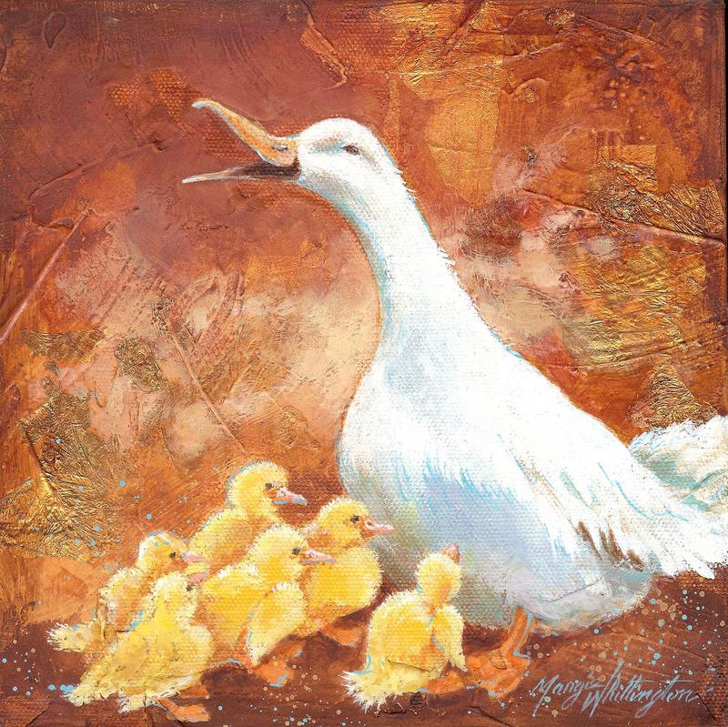 Duck and Ducklings original fine art by Margie Whittington