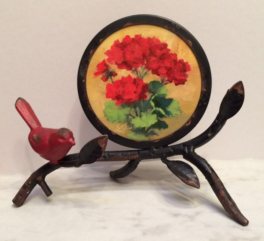 """Red Geraniums See full size below"" original fine art by Linda Jacobus"