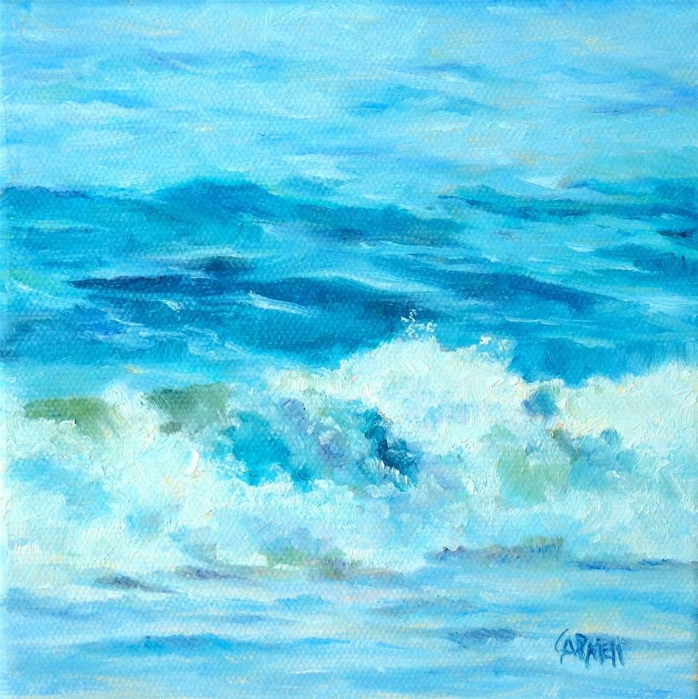 """Beach Blues, 6x6 Oil on Canvas, Seascape"" original fine art by Carmen Beecher"