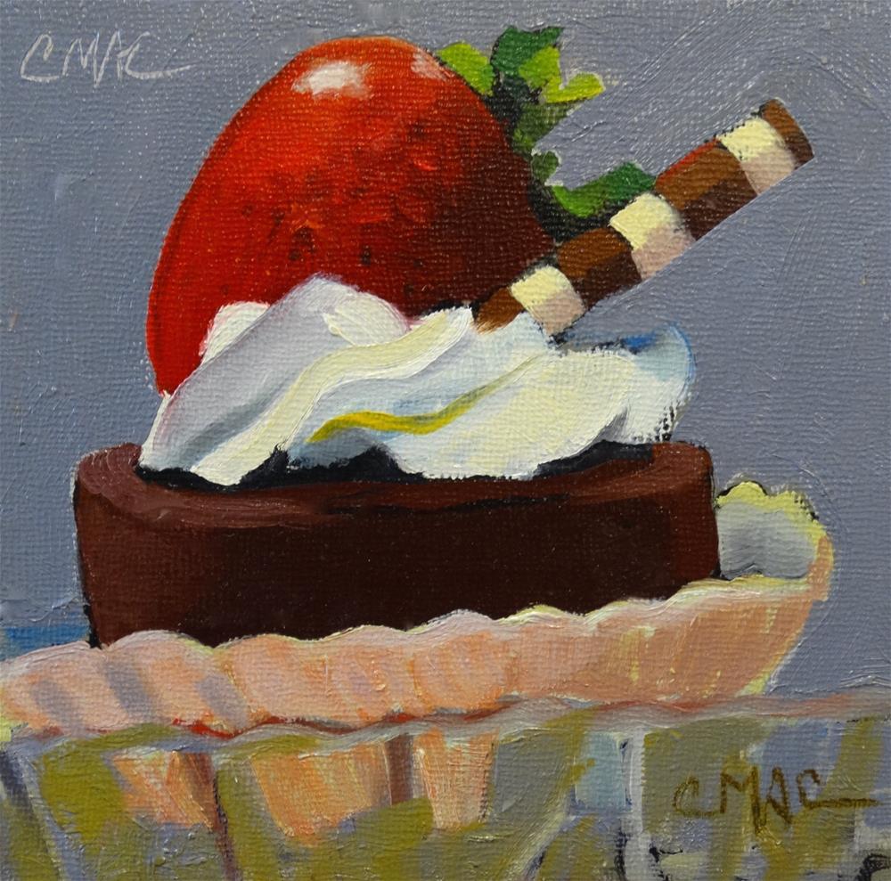 """""""Last Dessert from Brunos"""" original fine art by Carolyn McDonald"""