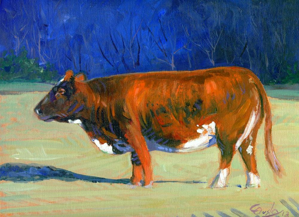 """""""Morning Sun Warmth (cow painting)"""" original fine art by Chris Ousley"""