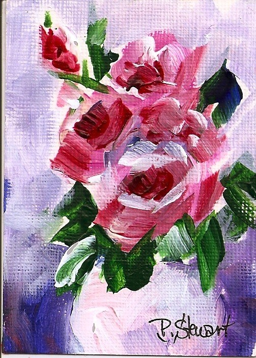 """ACEO Pink Roses in a Vase Acrylic Floral Painting"" original fine art by Penny Lee StewArt"