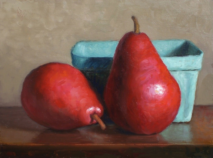 """Two Red Pears Original Oil Painting"" original fine art by Debra Becks Cooper"