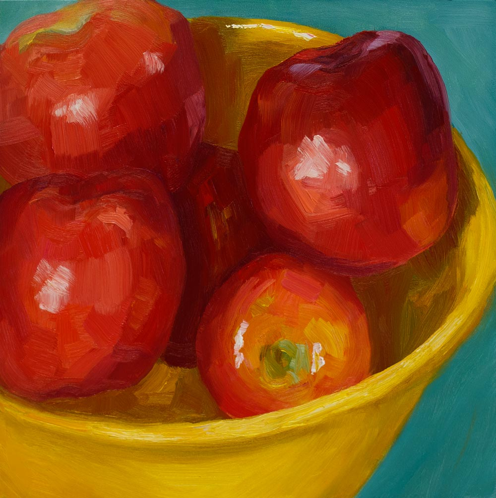 """Superbowl of Apples"" original fine art by Jana Bouc"