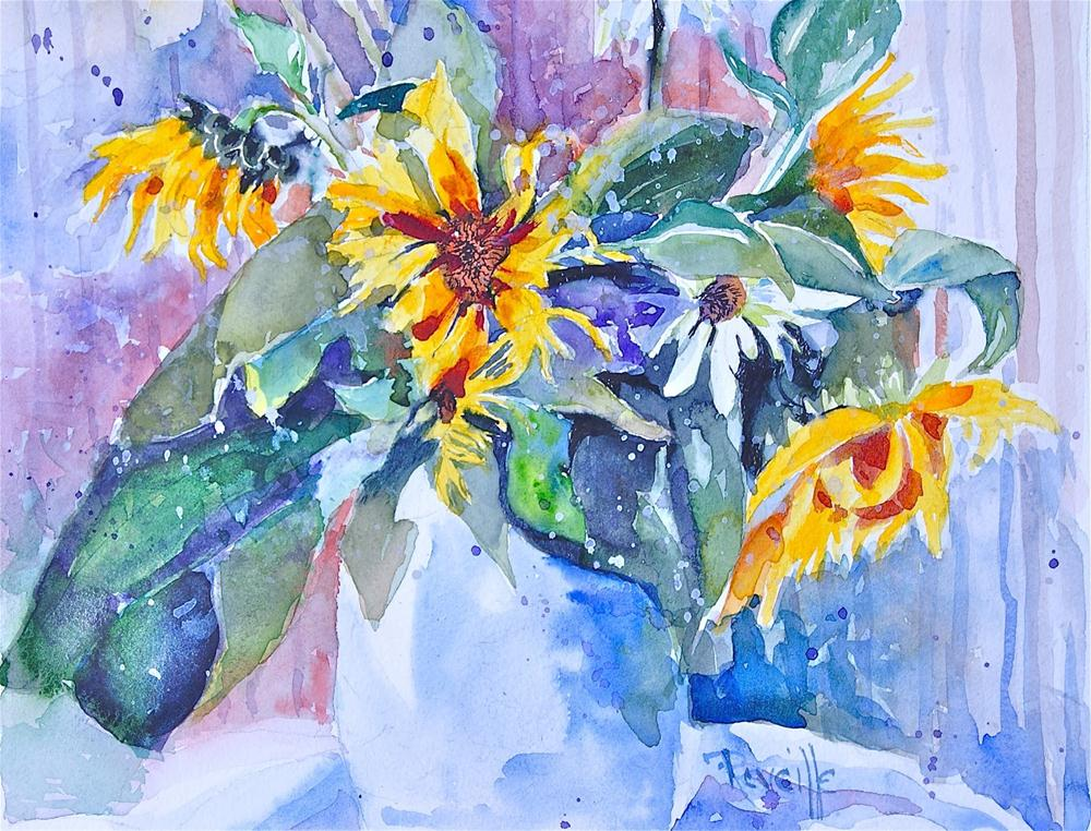 """Sunflowers and Stripes"" original fine art by Reveille Kennedy"