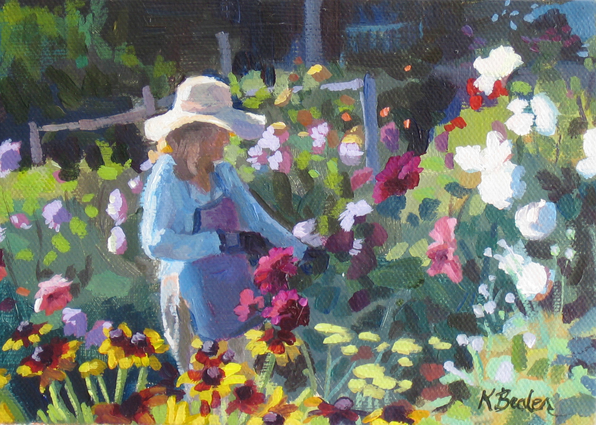 """Flower Garden"" original fine art by Kaethe Bealer"