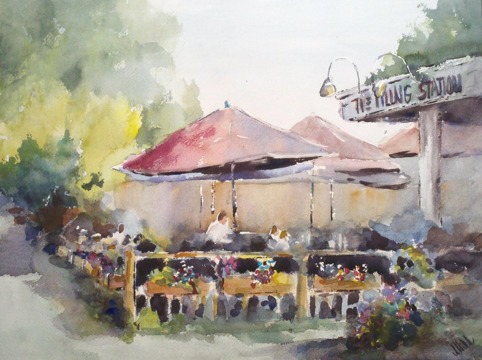 """""""The Filling Station"""" original fine art by Julie Hill"""