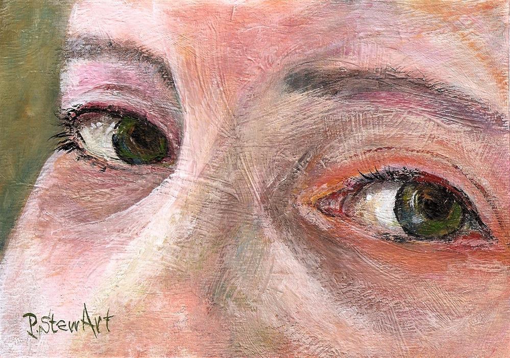 """""""5x7 Green Eyes Portrait Face Girl Acrylic Realistic SFA OOAK Penny Lee StewArt"""" original fine art by Penny Lee StewArt"""