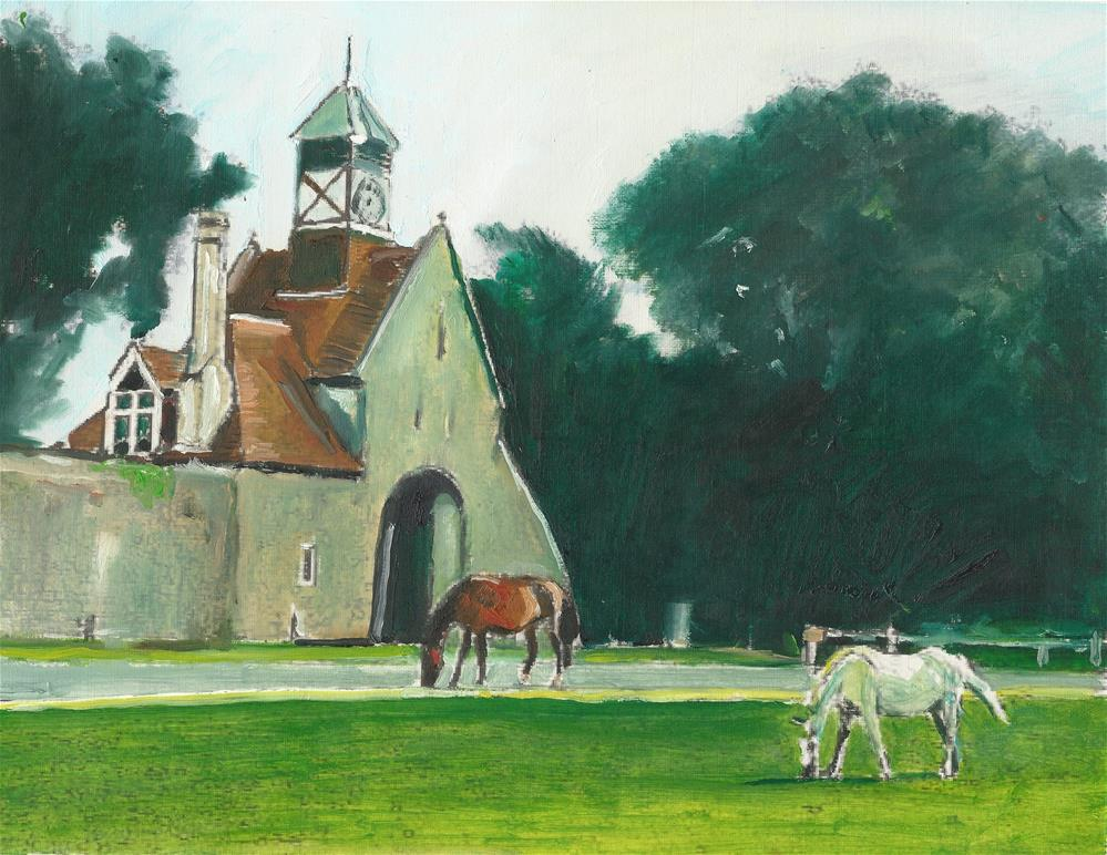 """""""Two Horses in The Field (8.5 x 13.5 oil on canvas sheet - no frame)"""" original fine art by Ramon DelRosario"""