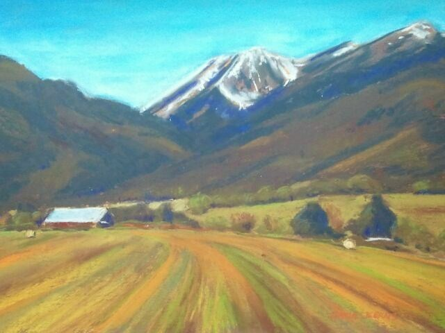 """Rock Creek Butte with hay field"" original fine art by Mary Davies Kerns"