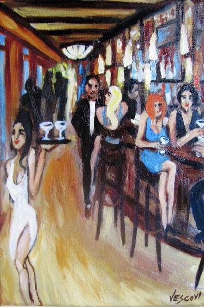 """Gigi's Tavern"" original fine art by Valerie Vescovi"