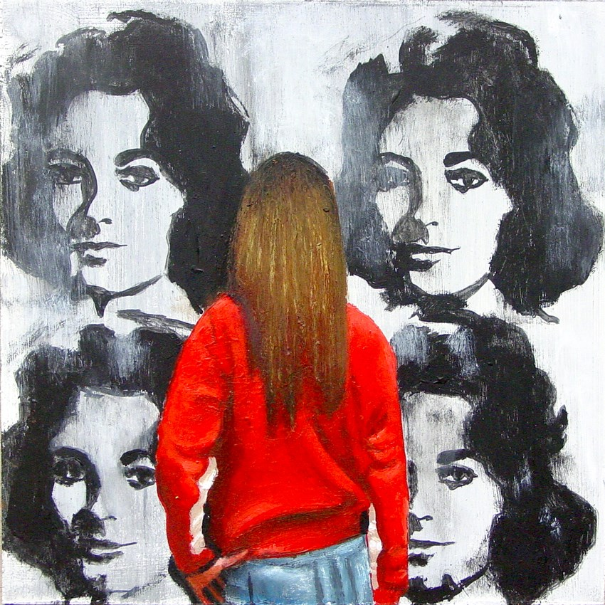 """Silver Liz- Painting Of Woman Enjoying Painting Of Elizabeth Taylor By Andy Warhol"" original fine art by Gerard Boersma"