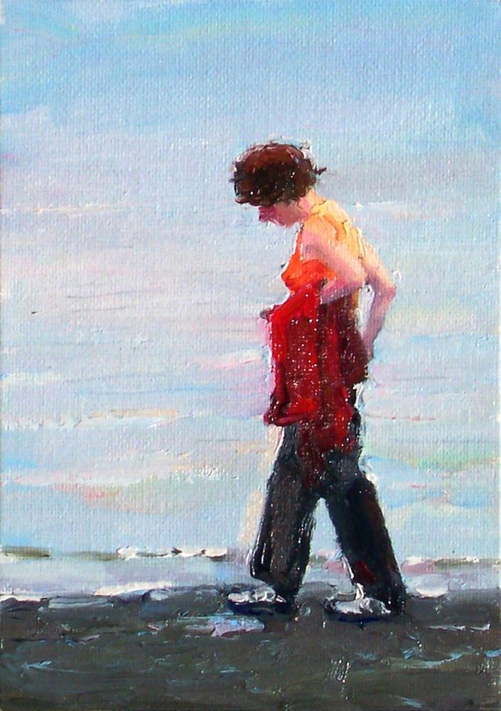 """Quiet Time,figure,oil on canvas,7x5,price$300"" original fine art by Joy Olney"