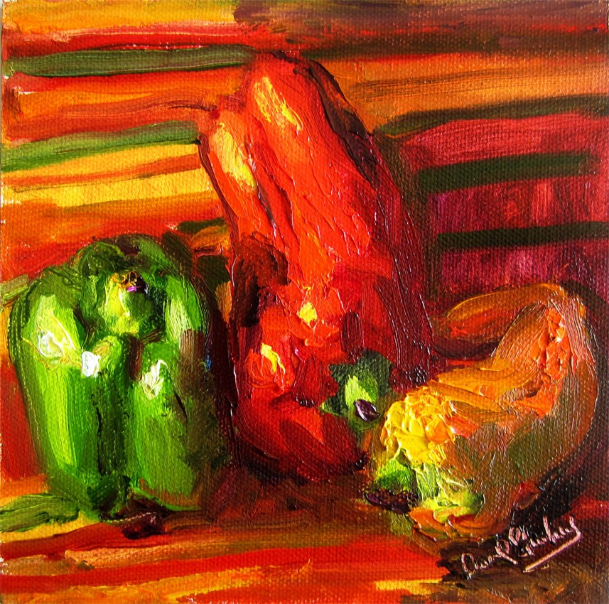 """Green, Red, Orange Peppers"" original fine art by Carol Steinberg"