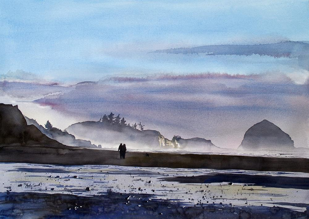 """Evening Stroll (Pacific City Oregon)"" original fine art by Andy Sewell"
