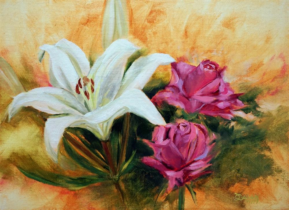 """""""White Lily With Roses"""" original fine art by Dalan Wells"""