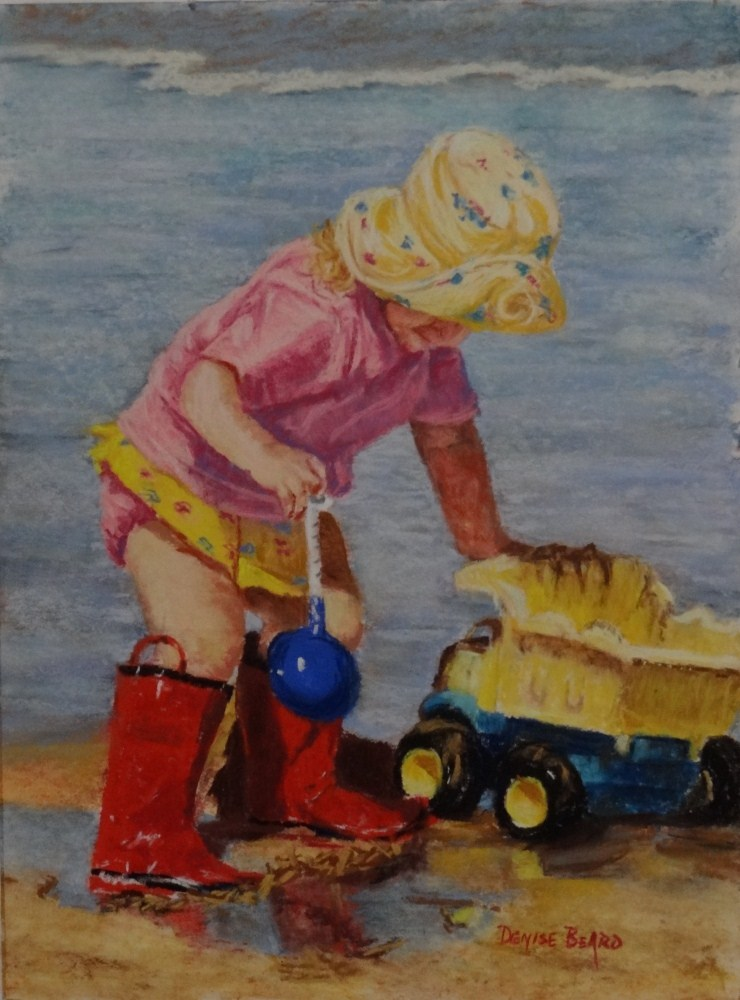 """Playing at Padre"" original fine art by Denise Beard"