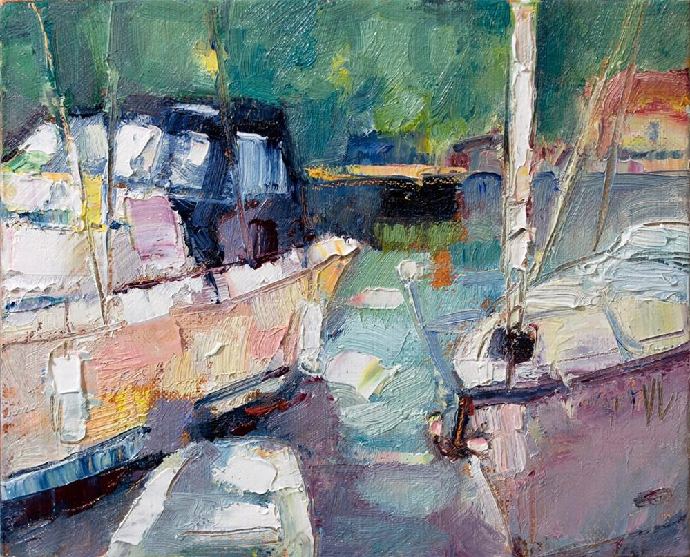 """Blue Dock"" original fine art by Vladan Ignatovic"