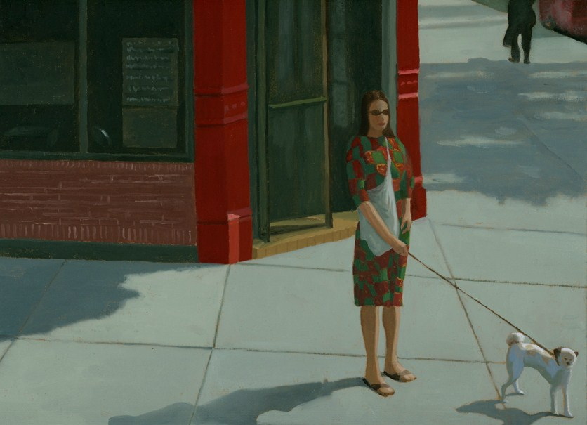 """Woman and Dog on the Corner"" original fine art by Nancy Herman"