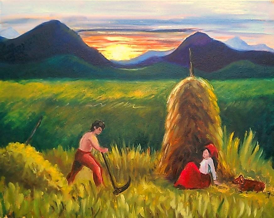 """Romanian farmer at sunset"" original fine art by Hilary J. England"