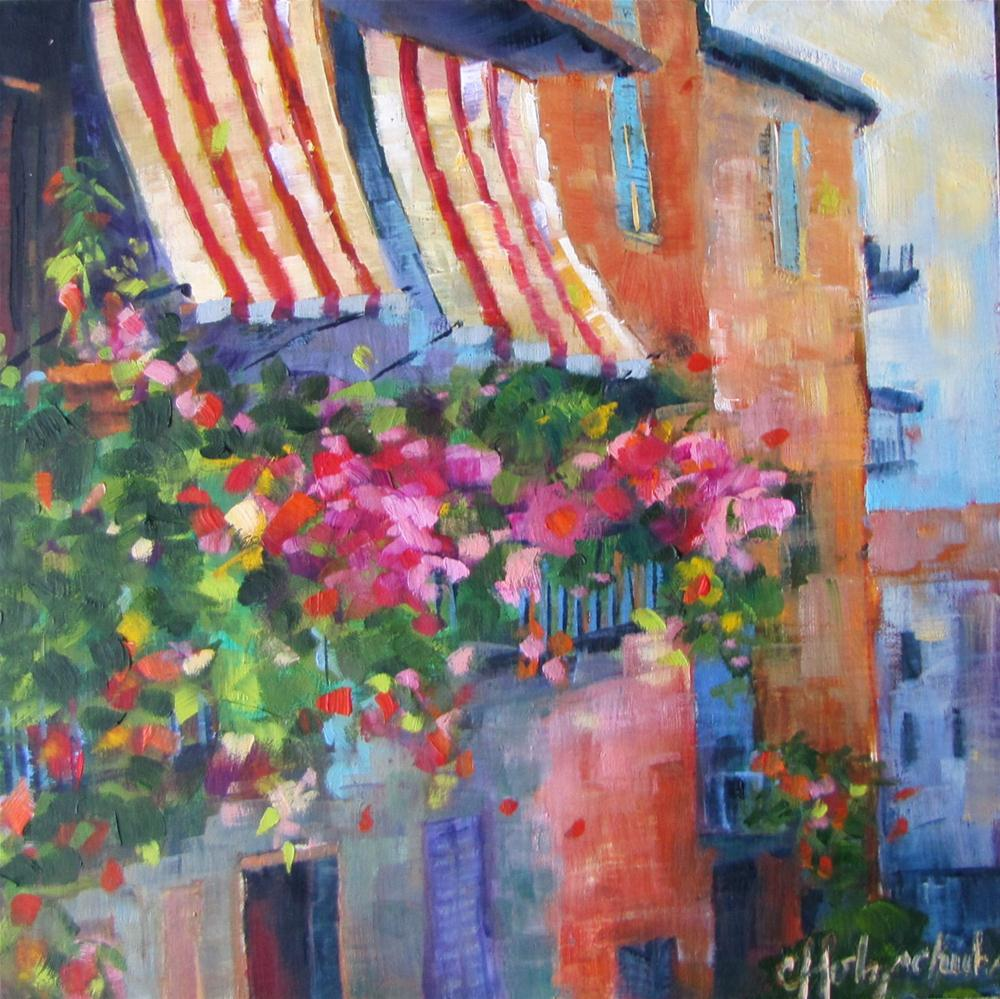 """Awnings 6x6  oil  $100"" original fine art by Christine Holzschuh"