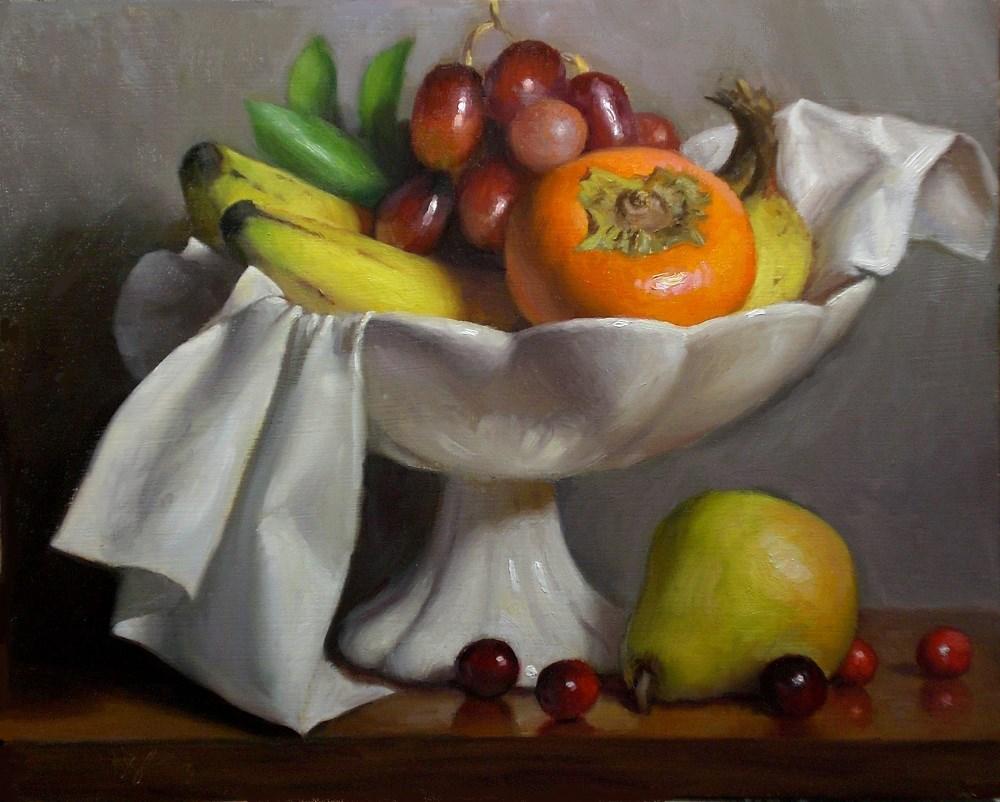 """Fruit with Persimmon and Cranberries"" original fine art by Debra Becks Cooper"