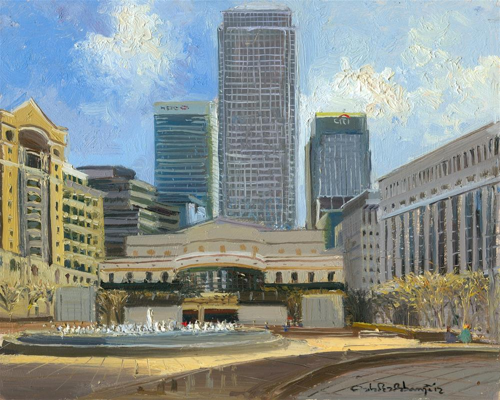 """Cabot Square, Canary Wharf"" original fine art by Adebanji Alade"