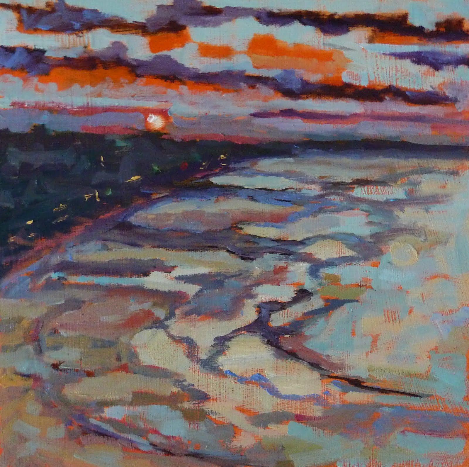 """Nantasket Beach Sunset 8x8 oil on gatorboard Framed, black satin wood Unframed Price is $175"" original fine art by Mary Sheehan Winn"